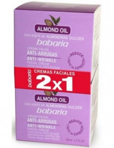 BABARIA ALMOND ACEITE FACIAL CREMA ANTI-ARRUGAS 200ML + ACEITE FACIAL CREMA ANTI-ARRUGAS 50ML - 1